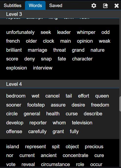 Slovní zásoba podle úrovní obtížnosti